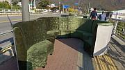 카키 장미 잎 문이 원형 룸쇼파 가로3500 (등높이1100)